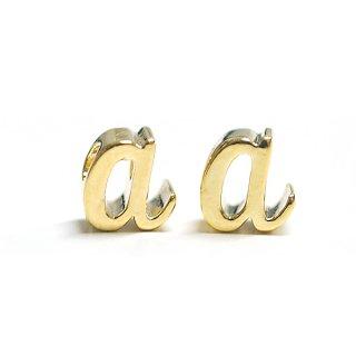 【2個入り】筆記体小文字 a ゴールドチャーム、パーツ