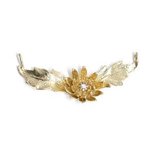 【1個】両カン&CZ付き!華麗なAngel Flowerエンジェルフラワーモチーフのマットゴールドコネクター 、チャーム