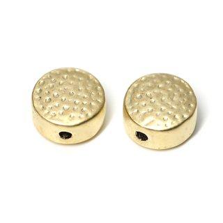 【2個入り】貫通!凹凸ある8mm円形マットゴールドチャーム