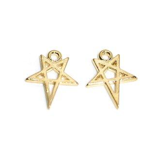 【2個入り】繊細な星STARモチーフの光沢ゴールドチャーム、パーツ