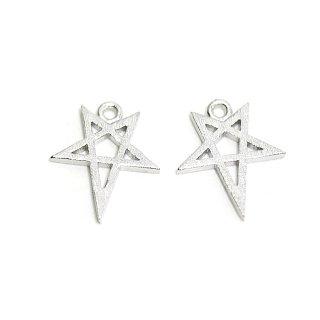 【2個入り】繊細な星STARモチーフのマットシルバーチャーム、パーツ