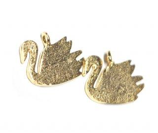 【2個入り】Petit Swanプチスワンモチーフマットゴールドチャーム