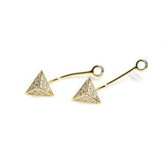 【1ペア】敷き詰められた18粒CZ三角形ゴールドピアスバックキャッチ装飾、パーツ