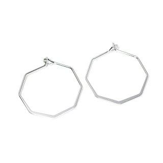 【4個入り】光沢シルバーSharp Hexagon ヘキサゴン形ピアスフック、パーツ