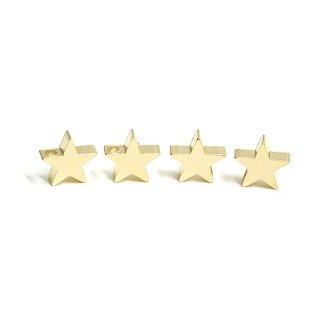 【4個入り】貫通!約8mm STAR星モチーフマットゴールドチャーム、パーツ