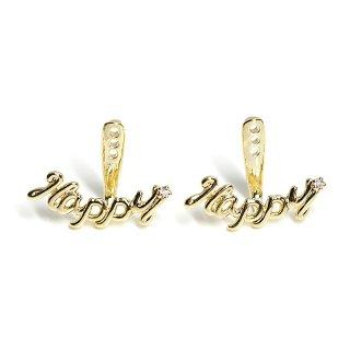 【1ペア】三段調整可!一粒CZ付きHAPPY文字のゴールドピアスバックキャッチ装飾、パーツ
