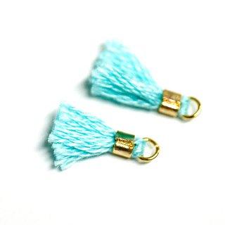 【5個入り】刺繍糸tasselミントカラーMediumタッセル、チャーム|ハンドメイド材料|アクセサリーパーツ