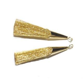 【2個入り】Special キラキラゴールド糸Goldカラーロング糸タッセル シンプルゴールドキャップ付きチャーム