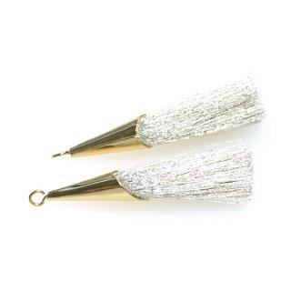 【2個入り】Special キラキラシルバー糸Silverカラーロング糸タッセル シンプルゴールドキャップ付きチャーム