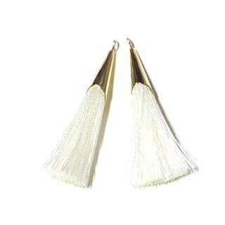 【2個入り】柔らかく甘いクリームCreamカラーロング糸タッセル シンプルゴールドキャップ付きチャーム