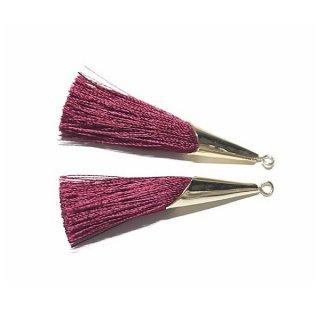 【2個入り】大人の品格あるバーガンディーBurgundyカラーロング糸タッセル シンプルゴールドキャップ付きチャーム