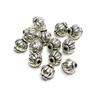 【20個入り】ふっくらっとした円形 銀古美アンチックスペーサー金具、パーツ