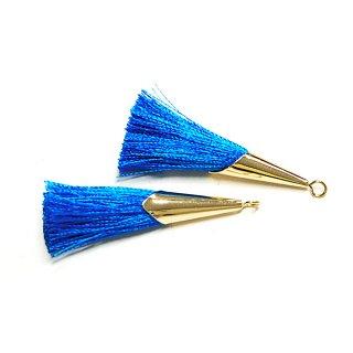 【2個入り】爽やかなクラシックブルーカラーロング糸タッセル シンプルゴールドキャップ付きチャーム