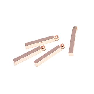 【4個入り】光沢ピンクゴールド約15mmスティックチャーム、パーツ