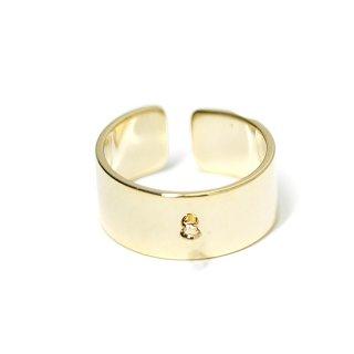 【1個】カン付き約8mm光沢ゴールドフリーサイズ指輪、リング製作パーツ NF