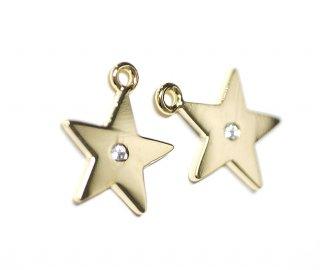 【2個入り】一粒CZ付き星(スター)型ゴールドチャーム