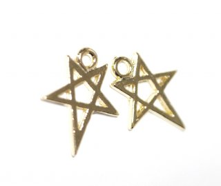 【2個入り】繊細な星(スター)モチーフの光沢ゴールドチャーム