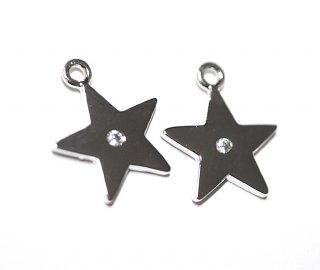 【2個入り】一粒CZ付き星(スター)型シルバーチャーム