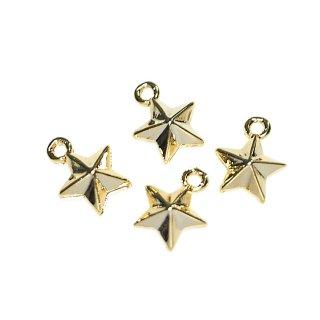 【4個入り】立体的なプチTwinkle Starスターモチーフの光沢ゴールドチャーム、ペンダント