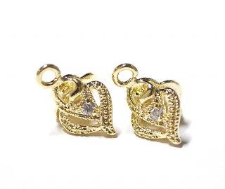 【2個】一粒CZ付きAntique Heart繊細ディテールの両側ピートンゴールドピートン、チャーム、バチカン