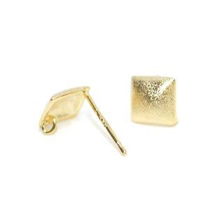 【1ペア】カン&SV925芯!約7mmLUXU正方形質感ある光沢ゴールドピアス、パーツ