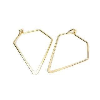 【4個入り】光沢ゴールドSharp Triangleトライアングル形ピアスフック、パーツ