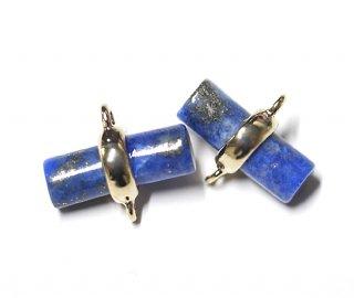 【1個】天然石〜Lapis lazuli風円柱形ゴールドコネクター