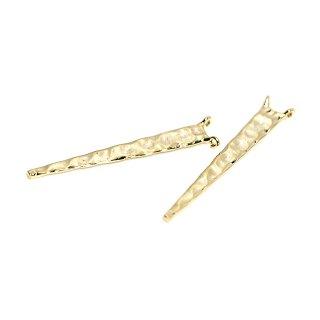 【2個入り】両カン!凹凸ある華奢な三角形ゴールドコネクター、チャーム