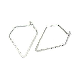 【4個入り】光沢シルバーSharp Triangleトライアングル形ピアスフック、パーツ