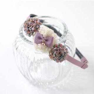 ポンポンお花のカチューシャ(ラベンダー)