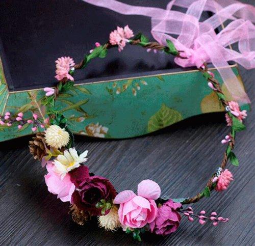 お花の冠 造花ヘッドドレス 花輪髪飾り 花嫁ヘアバンド