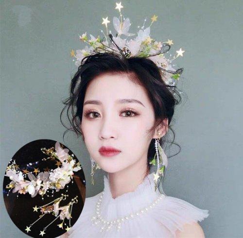 ヘッドドレス+イヤリング セット 結婚式 髪飾り 森ガール パーティー