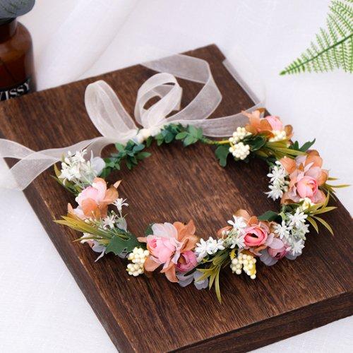 森ガール 造花花かんむり ウェディング ヘッドドレス 結婚式
