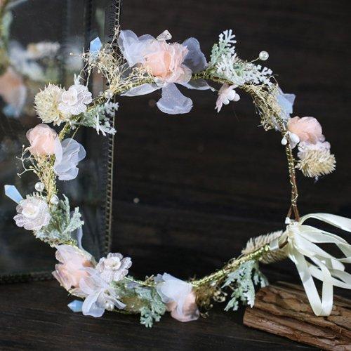 花嫁 ウェディング ヘッドドレス 造花 花飾り 花輪