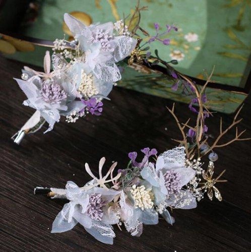 造花花かんむり ウェディングヘッドドレス 花嫁 お花の冠 髪飾り