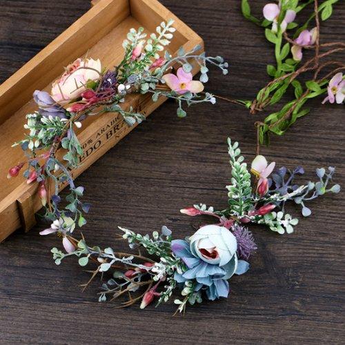 森ガール造花髪飾り 花嫁花輪 お花の冠 ヘッドドレス
