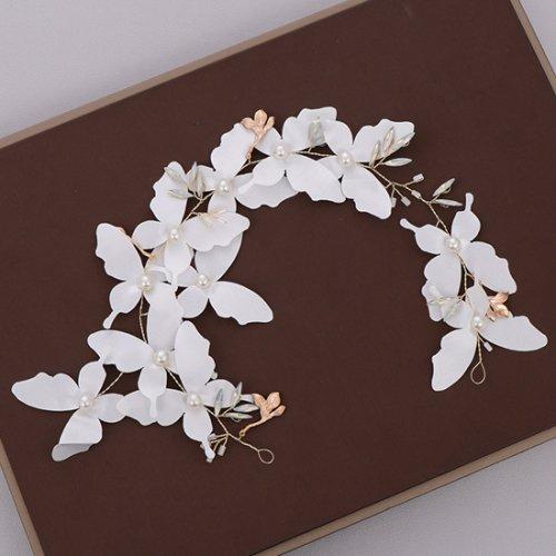 森ガール ヘッドアクセサリー 髪飾り 蝶々 パール 花嫁