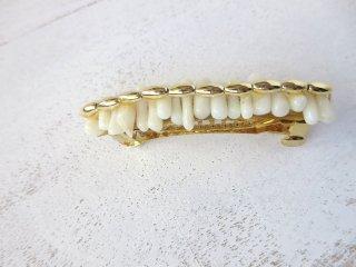 ホワイト珊瑚バレッタ 09-03