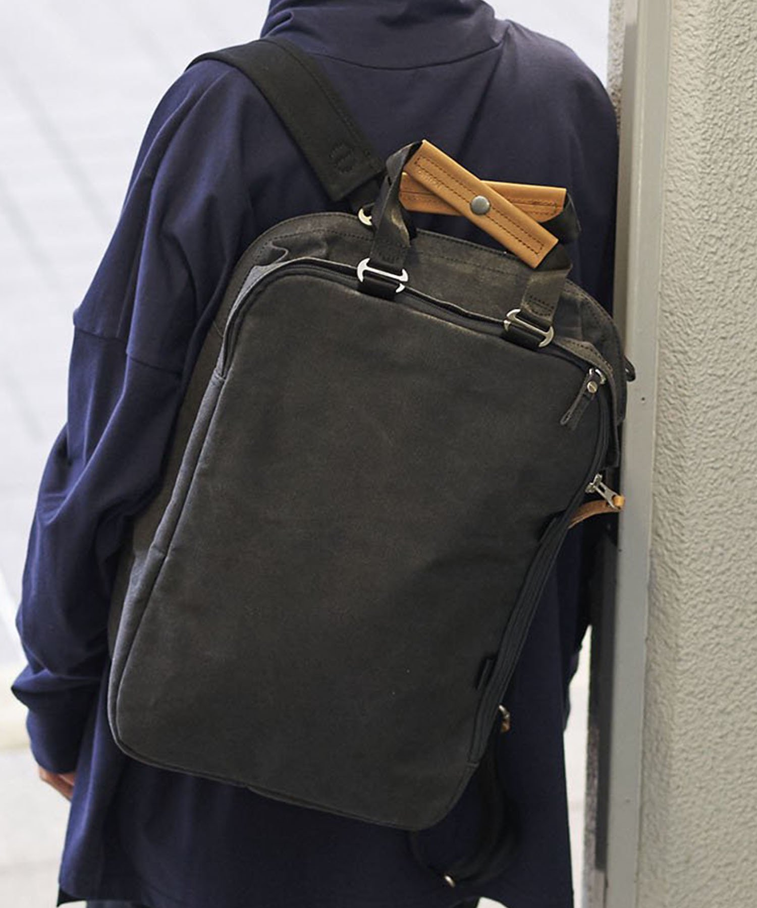 【QWSTION】Daypack Organic Washed Black