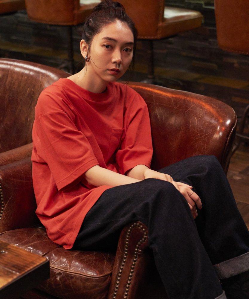 <ZERO WASTE>【REBIRTH PROJECT】RECOVER ドロップショルダーTシャツ RED