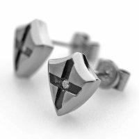 チタンピアス SHIELD シールド&クロス 選べる誕生石