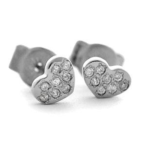 チタンピアス 天然ダイヤモンド合計16石付きパヴェ風ハートモチーフ