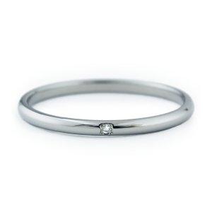 シンプルチタンリング 天然ダイヤ付き 1.5mm幅