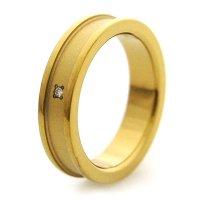 チタンリング 鏡面&溝ツヤ消し加工 4.5mm幅 天然ダイヤ付き IPゴールド