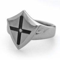 チタンリング シールド&クロス 選べる誕生石