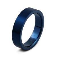 《数量限定・サイズ限定》 チタンリング 5mm幅 平打ちヘアライン IPブルー