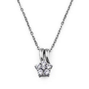 チタンネックレス ミニフラワー 天然ダイヤモンド計約0.16ct