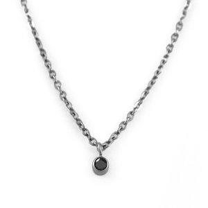 チタンネックレス ブラックダイヤモンド約0.03ct