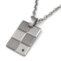 チタンネックレス ブラックダイヤ Block×Block