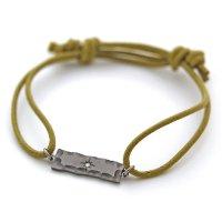 チタン&コットンコードブレスレット 長方形 天然ダイヤ付き 裏面刻印可